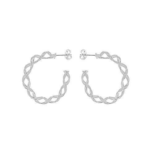 Sterling Silver 28mm Weave Twist Hoops