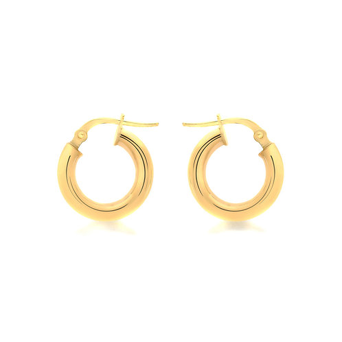 9ct Yellow Gold Round 15mm / 3mm Hoops