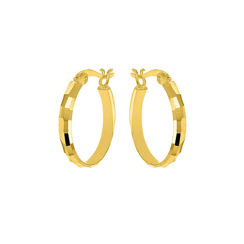 Gold Vermeil 20mm Diamond Cut Hoops
