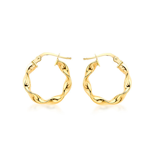 9ct Yellow Gold 17mm Twist Creole Hoops