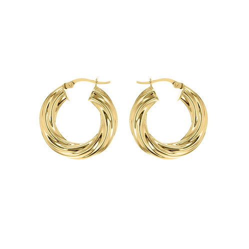 Gold Vermeil 27mm / 6mm Wide Twisted Hoops