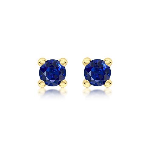 9ct Yellow Gold 4mm September Birthstone Stud Earrings