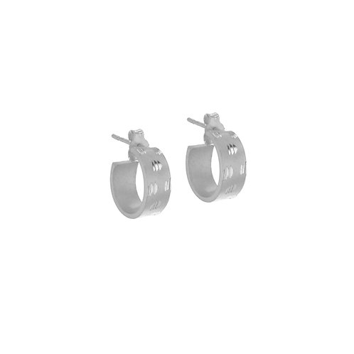 Silver Thick Satin Design Hoops