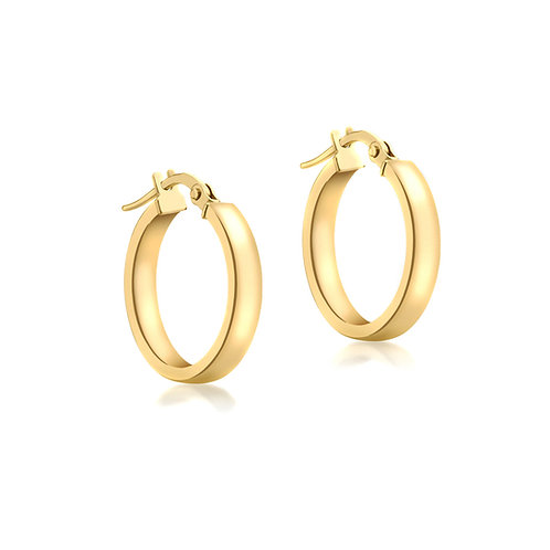 9ct Yellow Gold 3mm / 15mm Hoop Earrings