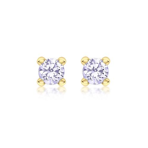 9ct Yellow Gold 4mm June Birthstone Stud Earrings