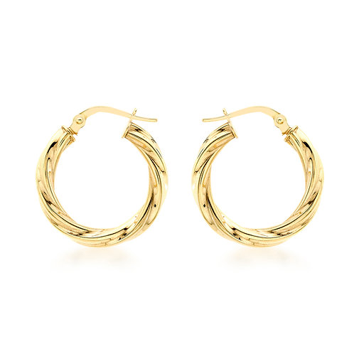 9ct Yellow Gold 20mm Twisted Creole Hoops
