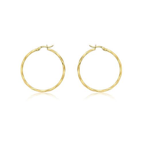 9ct Yellow Gold 33mm Diamond Cut Hoop Earrings