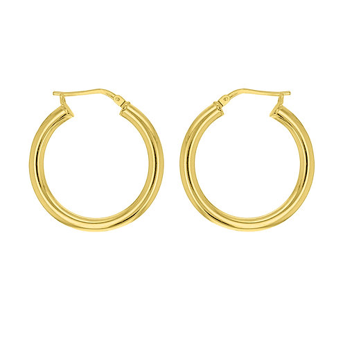 9ct Yellow Gold Round 25mm / 3mm Hoops