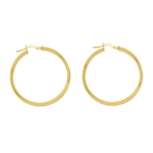 Yellow Gold Vermeil Thick 40mm Hoops