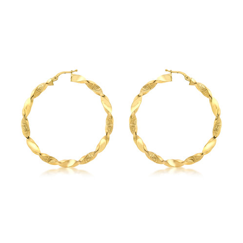 9ct Yellow Gold 48mm Luxury Grecian Twist Hoops
