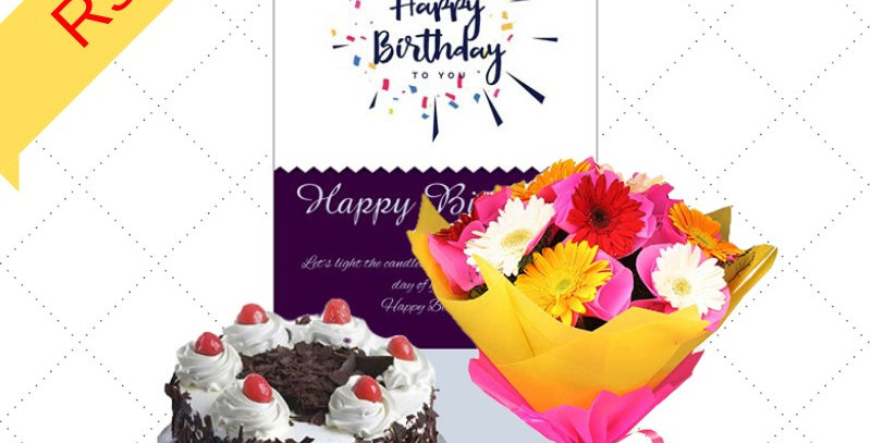 Cake/Flowers/Greeting Card Combo