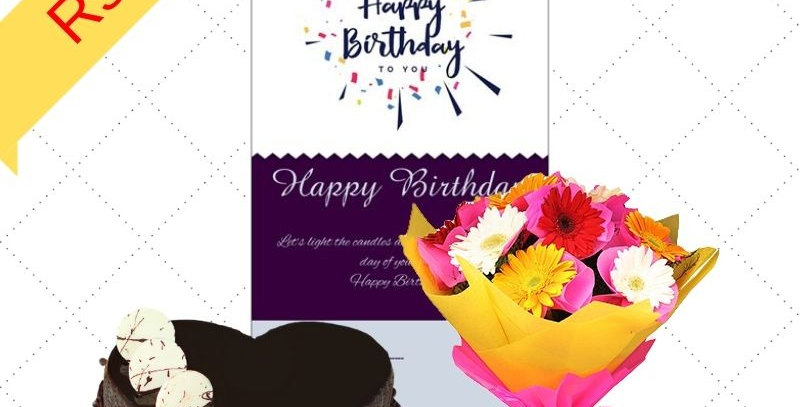 Gift Combo Cake & Flowers Bouquet