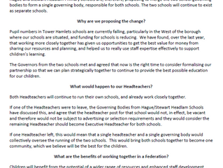 Proposal to Federate with Stewart Headlam Primary School