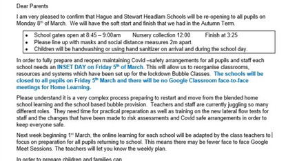 School Reopening plans for 8th March and INSET