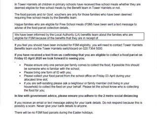 Free School Meals update from Headteacher