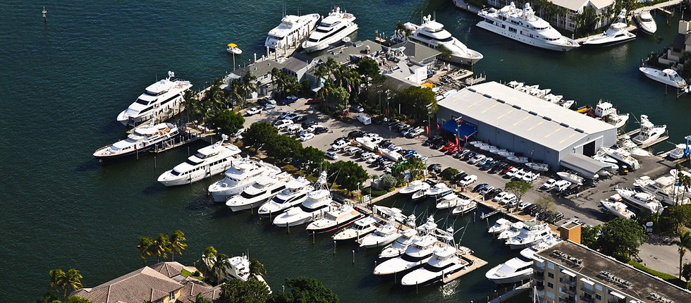 Lauderdale Marina Dockage on the Intracoastal Waterway Aerial View Showing Boats and Yachts