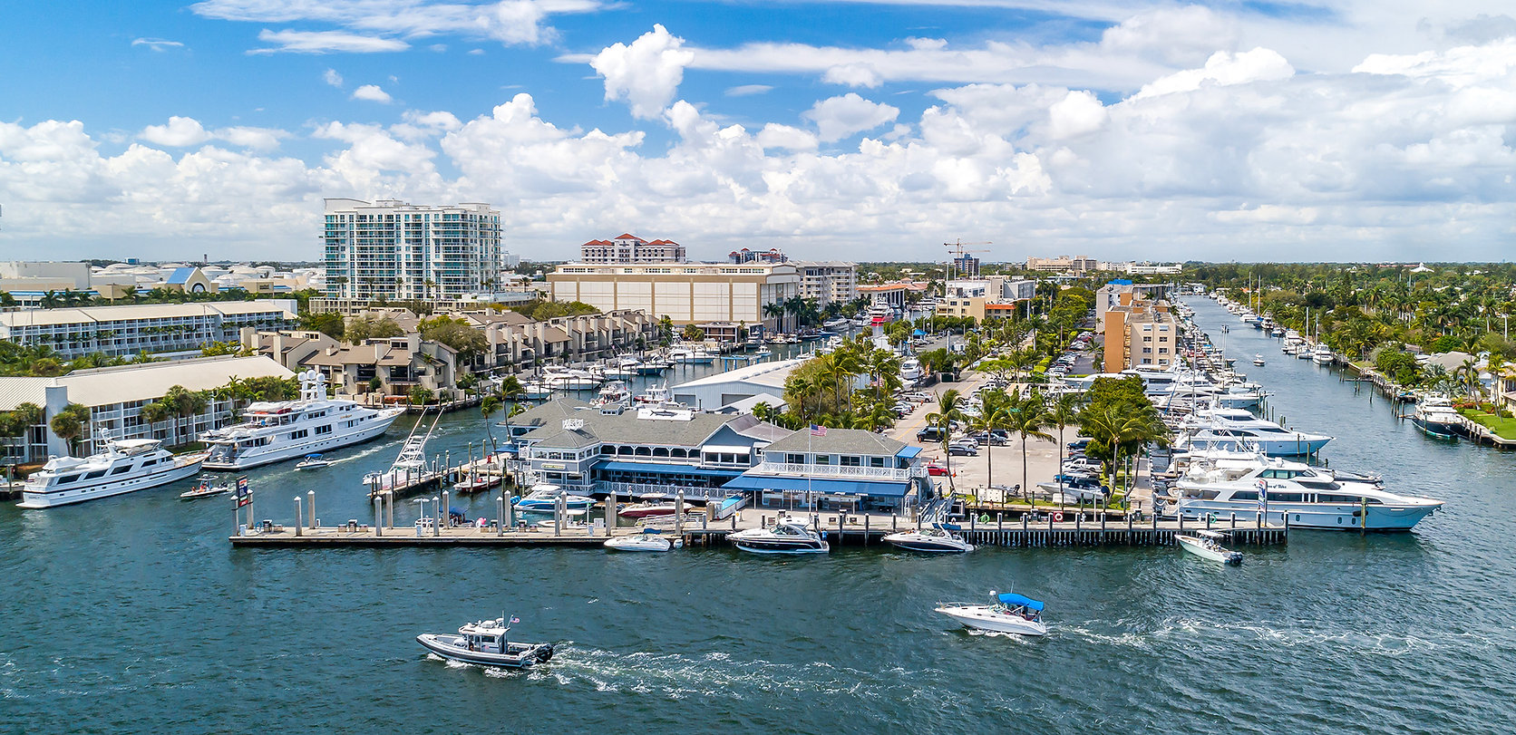 This is a drone view of the Lauderdale Marina fuel dock on the Intracoastal Waterway.