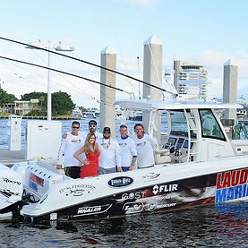 The Lauderdale Marina Fishing Team on their Boston Whaler boat