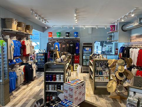 Interior View of the Dock Store showing various merchandise