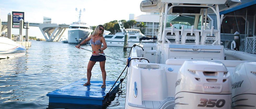 Boat Cleaning Demonstration on Work Float Platform