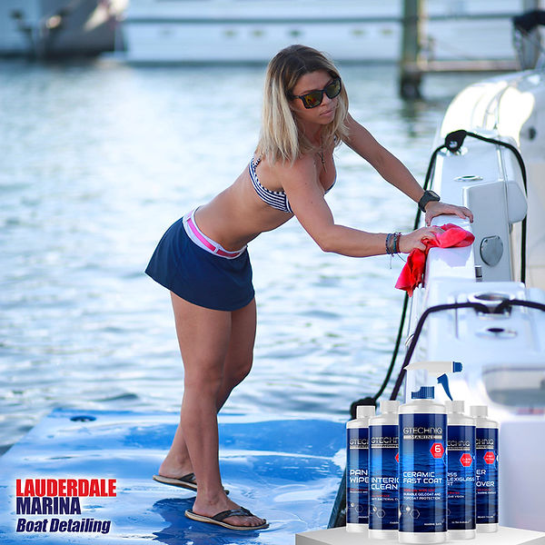 GTechniq Marine products are being used to clean a boat.
