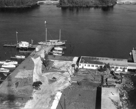 This is an historical aerial view of Lauderdale Marina on the waterway in 1950.