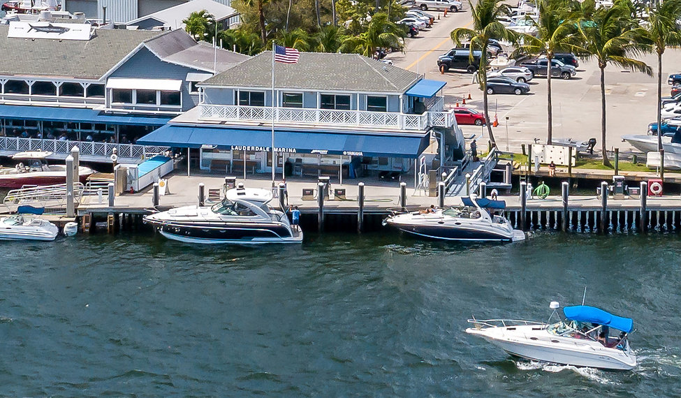 View of the Lauderdale Marina Dock Store on the Intracoastal Waterway