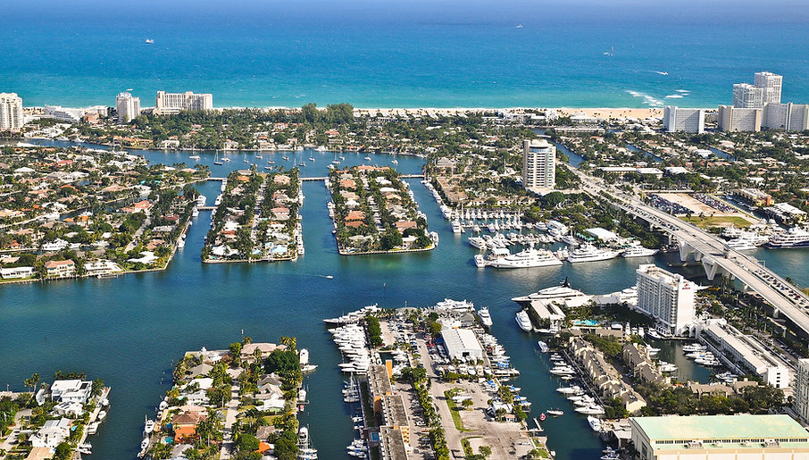 Aerial View of Laudedale Marina, the Intracoastal Waterway and Atlantic Ocean