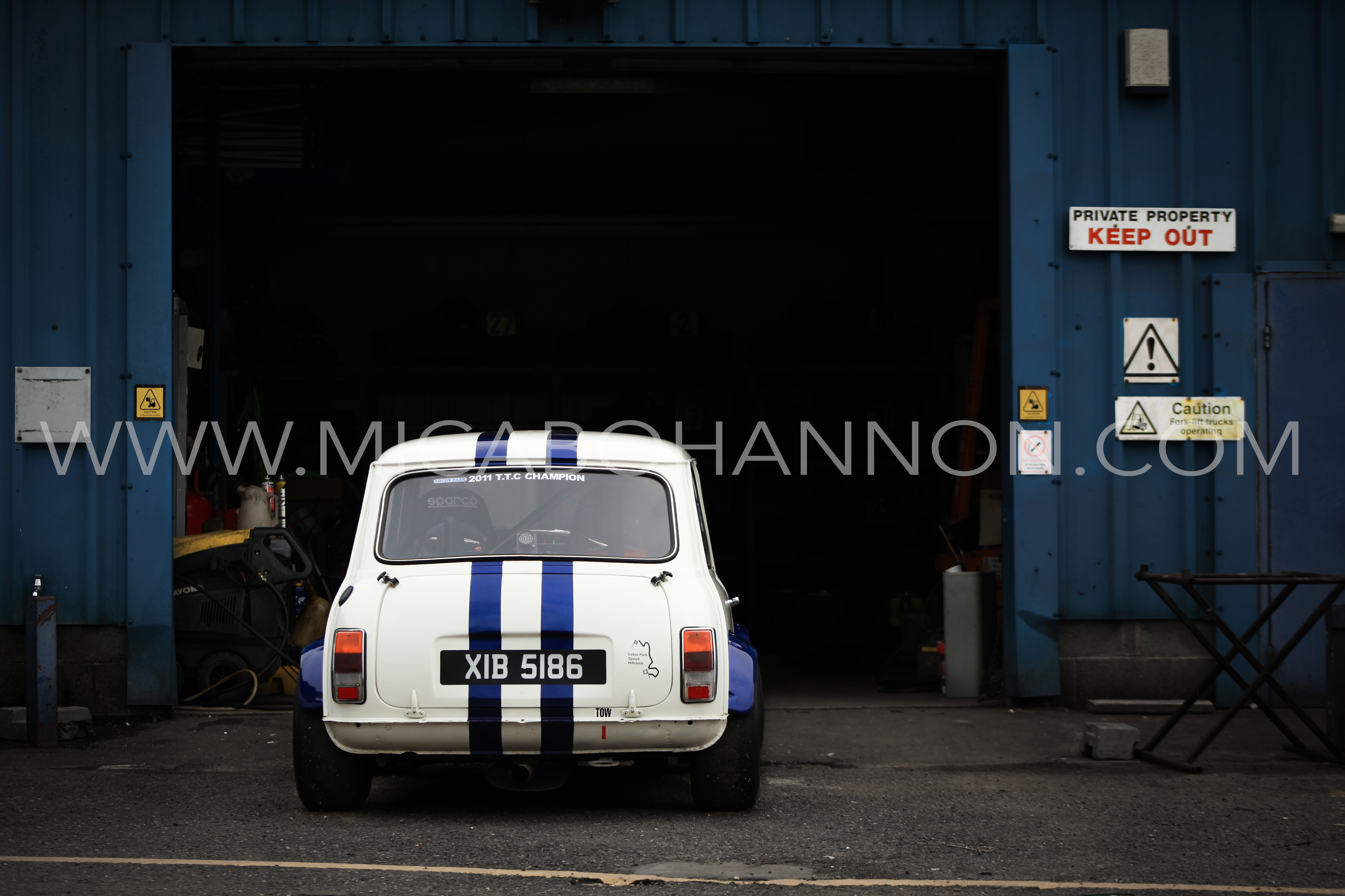 mini parked at a garage