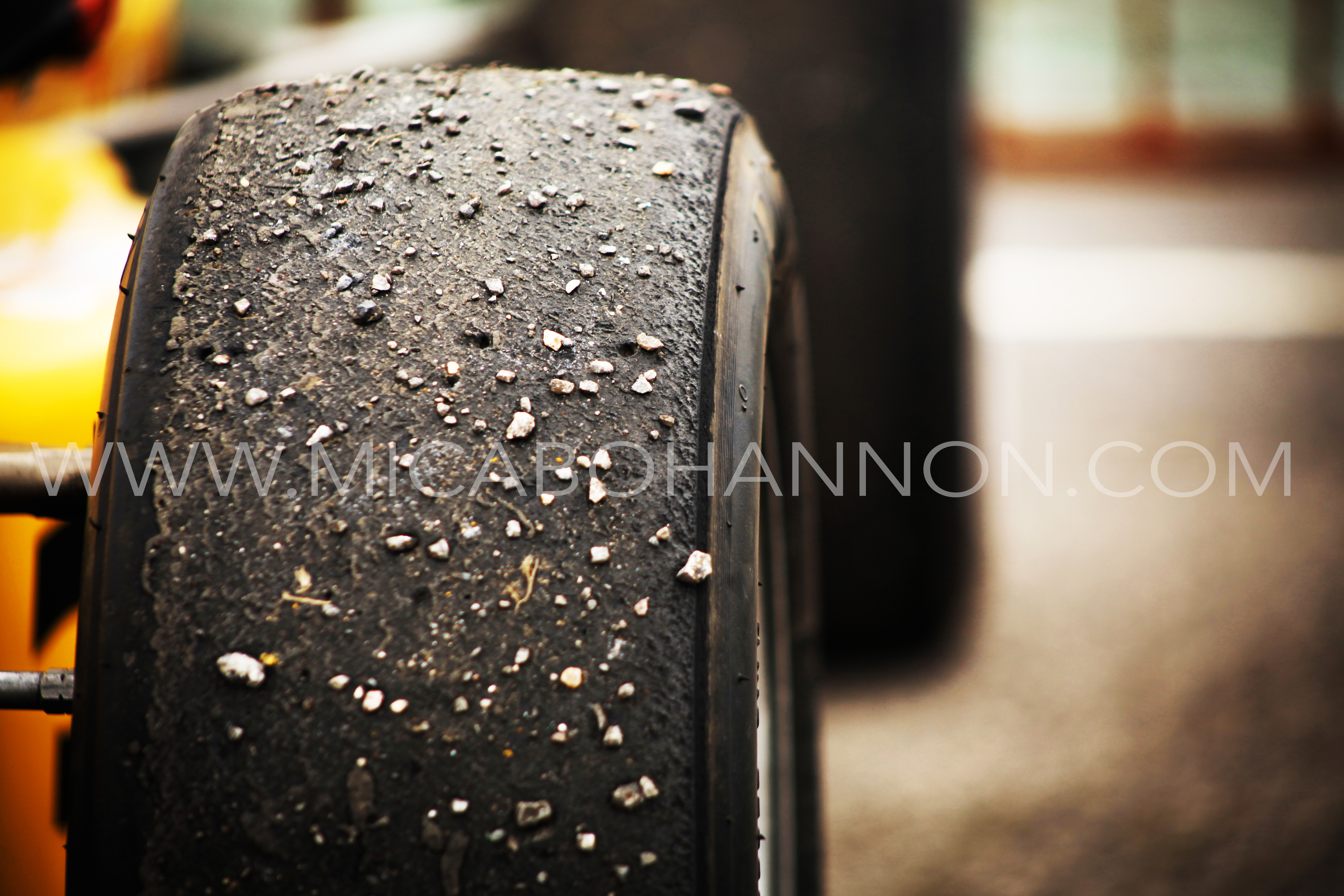 wheels with gravel on them