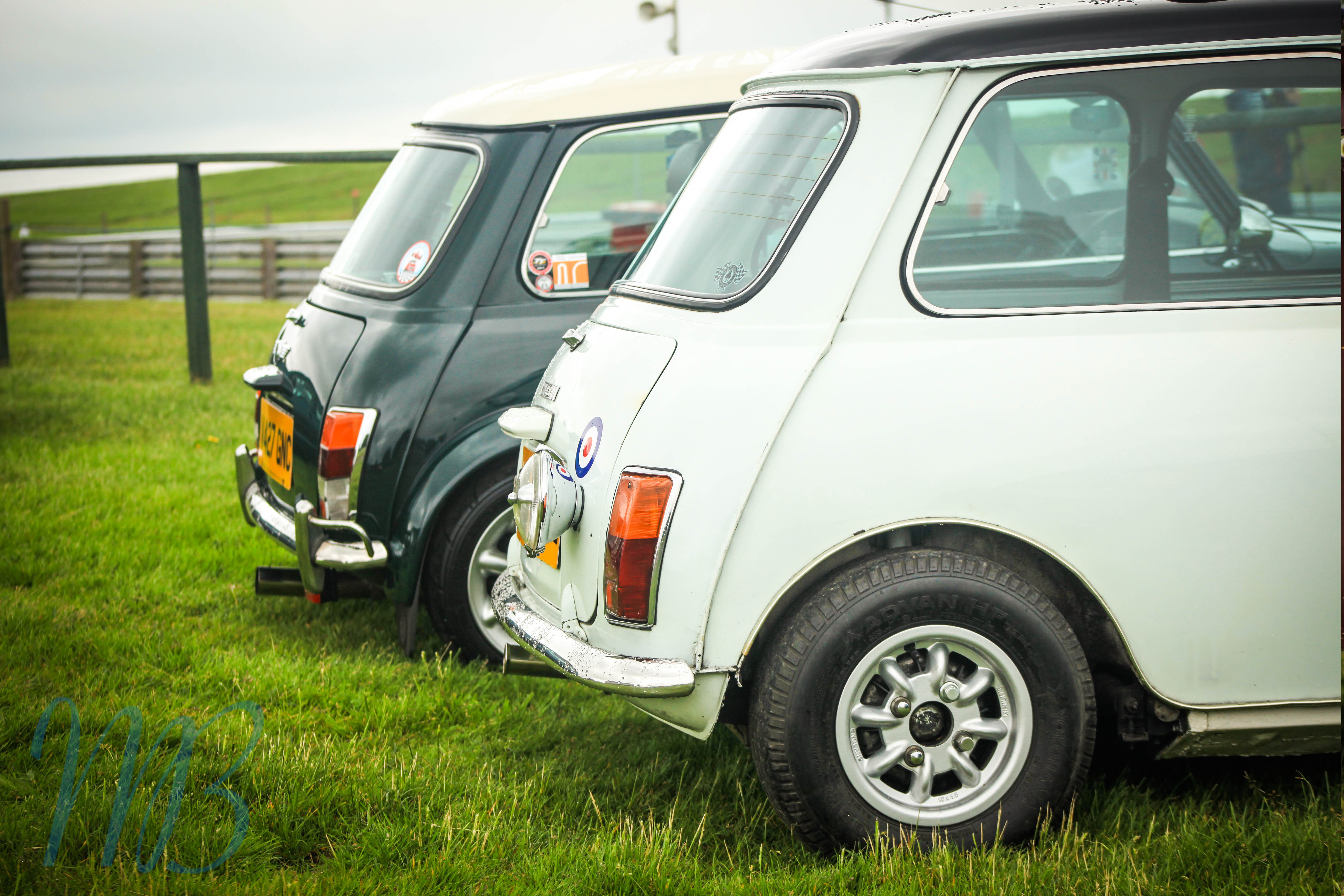 back of two parked up minis