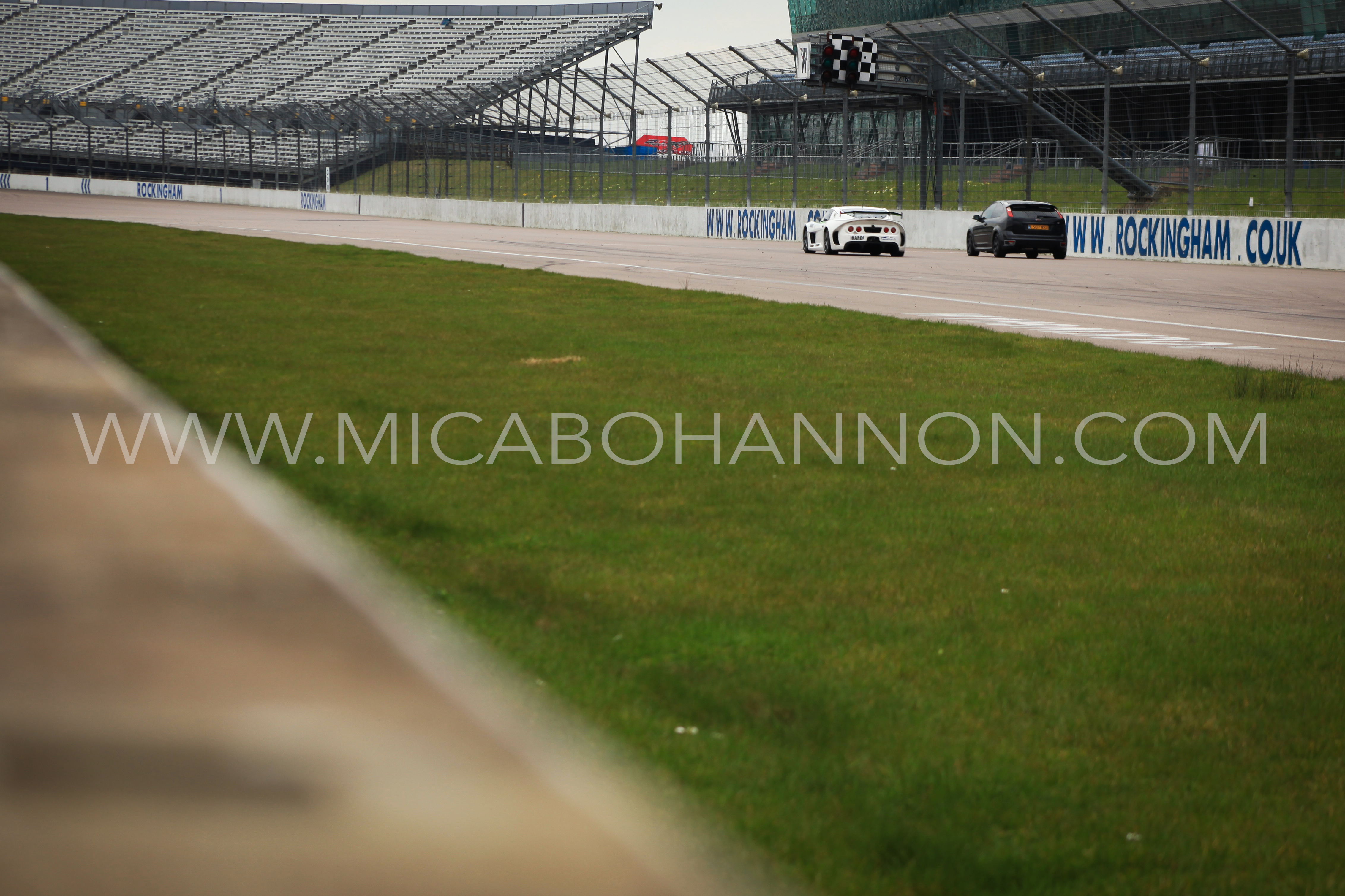 distance shot of racing cars