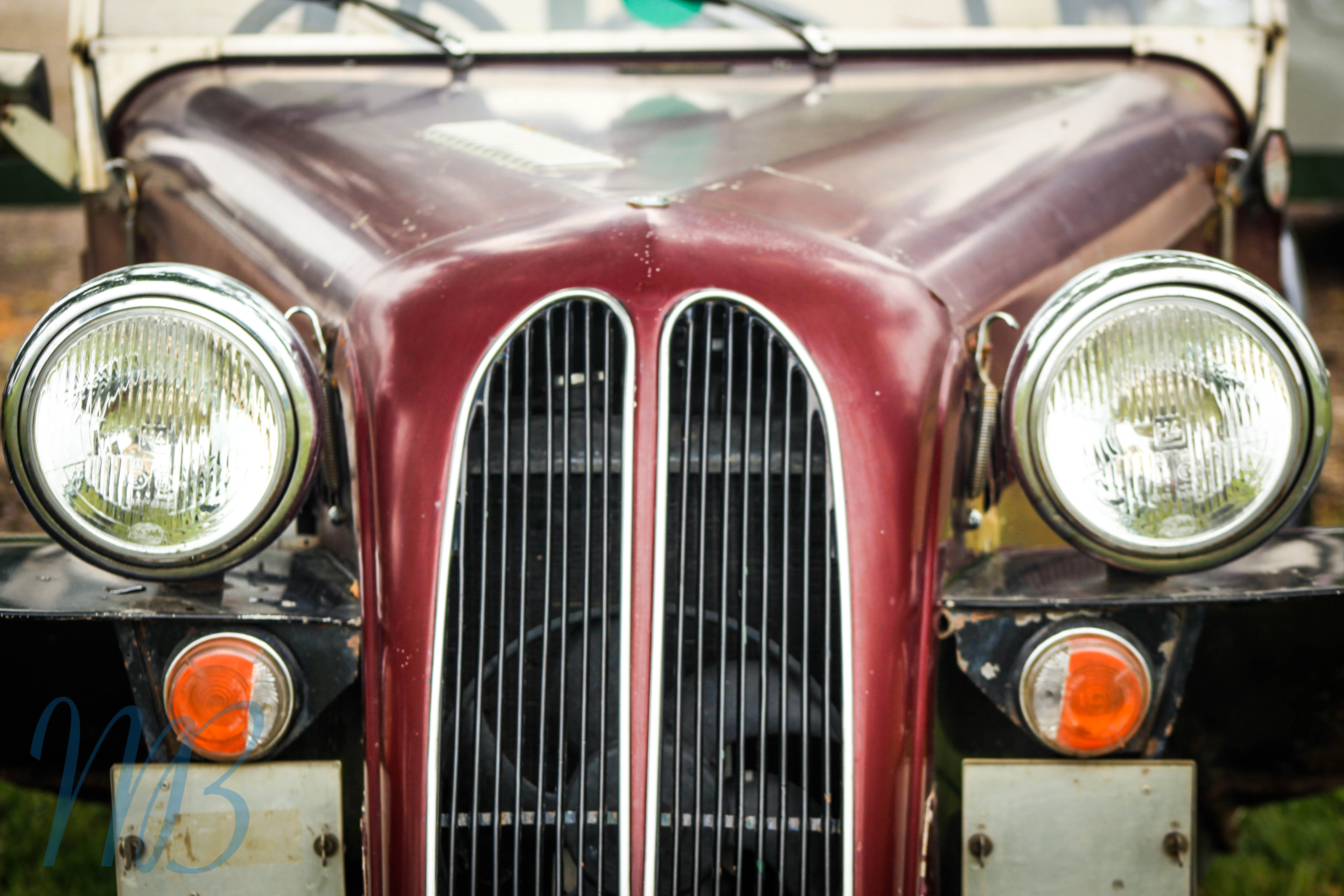 front of an old car