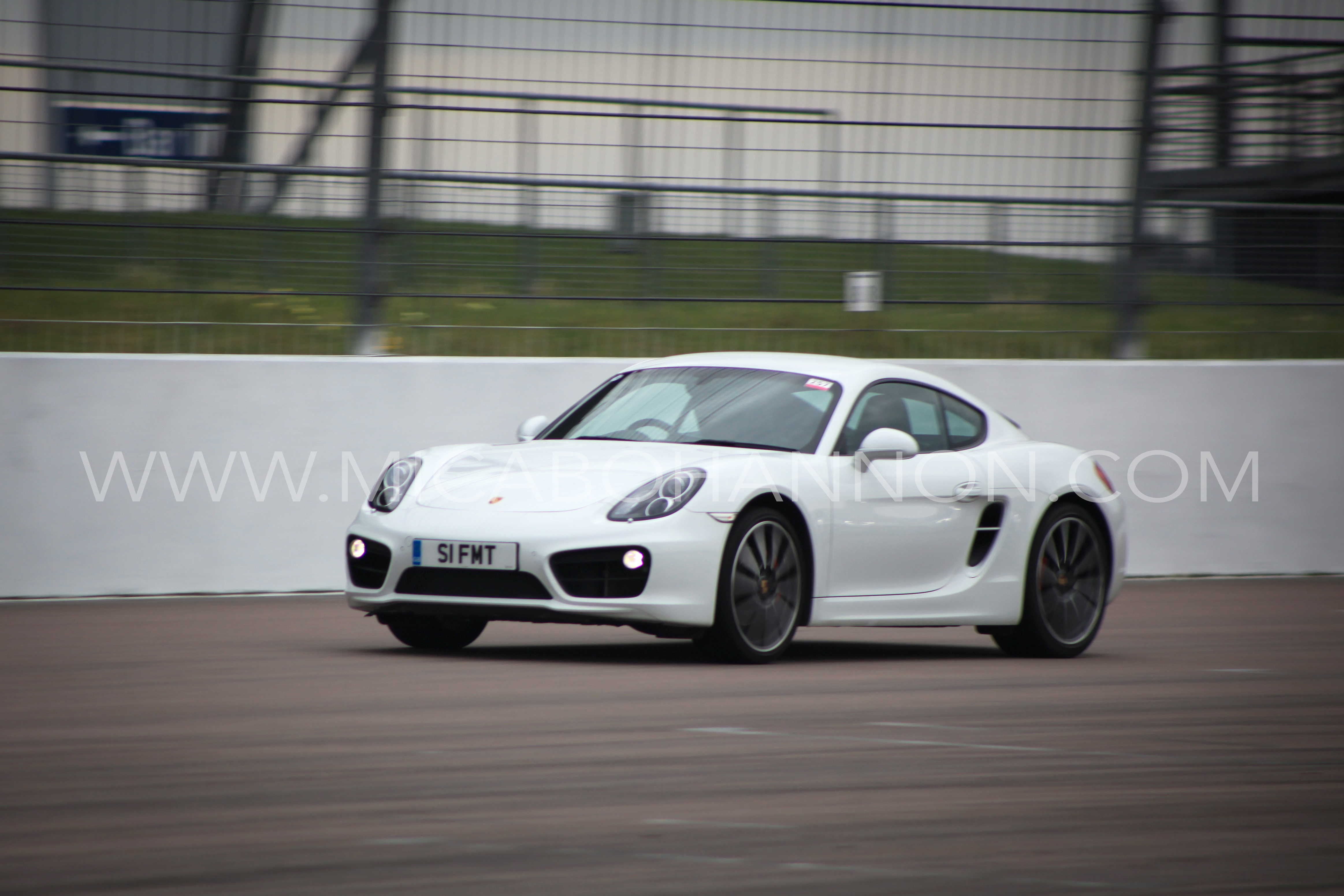 white car with motion blur