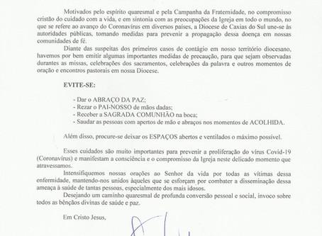 Diocese de Caxias do Sul envia nota de recomendações para prevenir contágio do Coronavírus