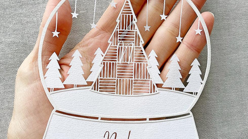 クリスマス切り絵図案❶ スノードーム(図案のみ)