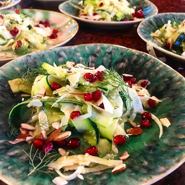 Shaved Zucchini and Fennel Salad with Pomegranate, Almonds, Lemon Vinaigrette