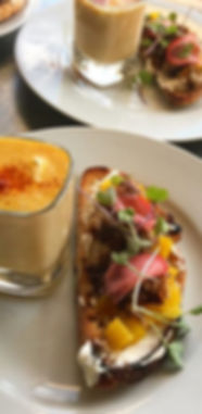 Roasted Golden Beet Crostini wth Braised Pork Belly, Corn Bisque