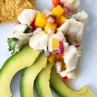 Halibut and mango ceviche with avocado,