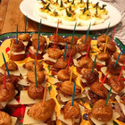 Candief Fig, Manchego, Smoked Sausage Skewers