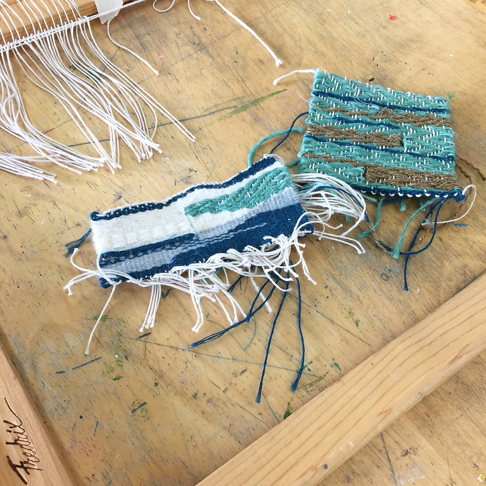 Finished samples from my Winter Frame Weaving class