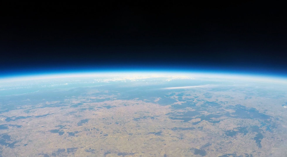 High-altitude balloon image of space above Earth