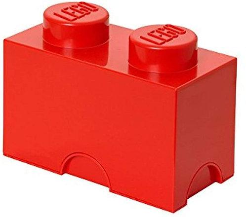 Mattoncino-contenitore Lego a 2 Bottoncini, ROSSO
