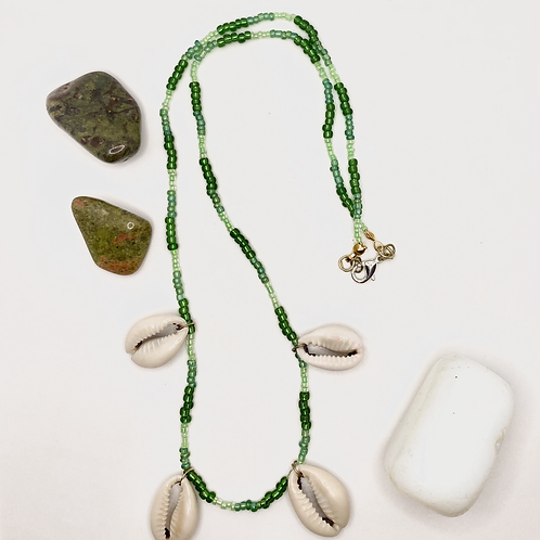 Green Cowrie Shell Necklace