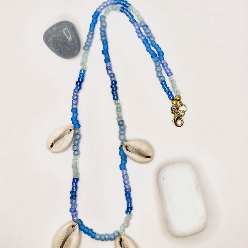 Blue Cowrie Shell Necklace