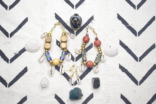 African Cowrie Bracelet & Earring Set