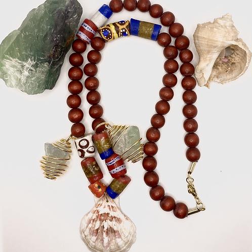 Yemoja Goddess inspired Shell Necklace w/ Flouride Crystals