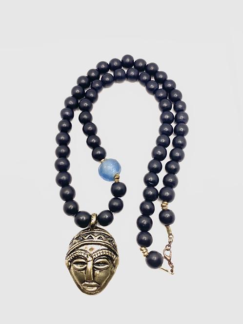 Ghana Love: African Blue Bead Necklace