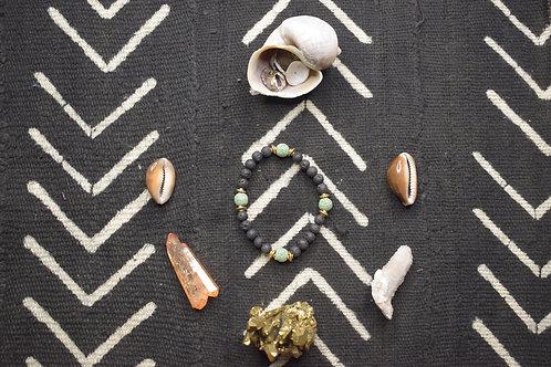 Light Green Lava Bead Necklace