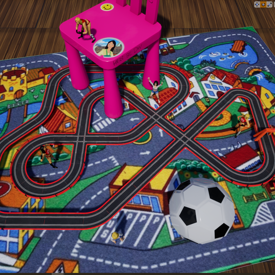Losing Track: A 1v1 slot-car racing game simulating the game you played when you were young. Manage your speed during turns and try to go as fast as possible on straightaways.